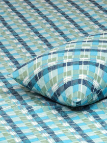 Printed Mint Blue Bed Sheet With Two Pillow Covers