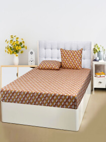 Printed Brown Bed Sheet With Two Pillow Covers