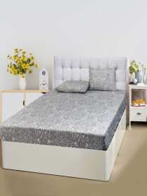 Printed Grey Bed Sheet With Two Pillow Covers