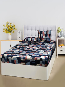 Mosaic Multi-colored Bed Sheet With Two Pillow Covers