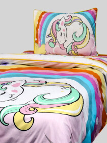 Printed Unicorn single Bed Sheet With One Pillow Cover