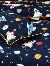 Printed Space Single Bed Sheet With One Pillow Cover