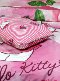 Printed Hello Kitty Single  Bed Sheet With One Pillow Cover