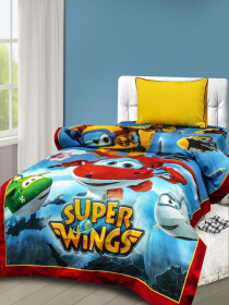 Printed Super Wings Single Bed Sheet With One Pillow Cover