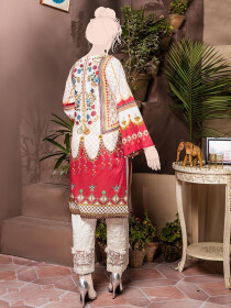 White & Red Embroidered & Digital Print Unstitched Cotton Shirt