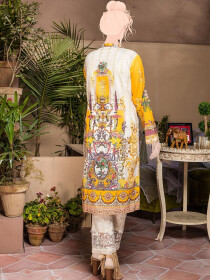 Yellow & Off White Embroidered & Digital Print Unstitched Cotton Shirt