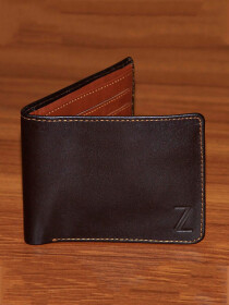 Bi Fold Leather Wallet with Hidden Pockets- Brown with Tan
