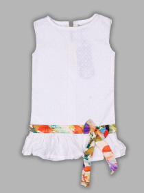 Baby Girl White Chikenkari Top With Silk Ribbon