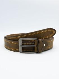 Men Cow Leather Double Stitched Belt