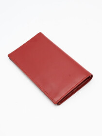 Red Cow Leather Long Wallet for Men