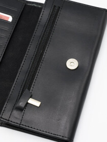Black Cow Leather Magnet Lock Wallet for Men