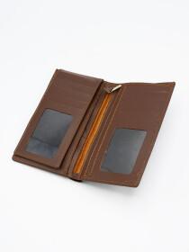 Brown Cow Leather Medium Long Plain Wallet for Men