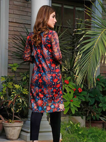 Red Cage Stitched Lawn Kurti