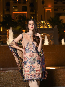 Peach Embroidered & Digital Print Unstitched 3 Piece Suit for Women
