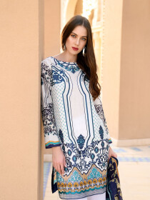 White & Blue Embroidered & Digital Print Unstitched 3 Piece Suit for Women