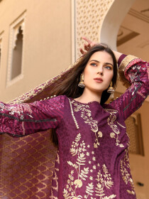 Magenta Embroidered & Digital Print Unstitched 3 Piece Suit for Women