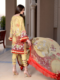 Lime Yellow Embroidered & Digital Print Unstitched 3 Piece Suit for Women