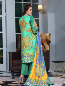 Green Embroidered and Digital Print Unstitched 3 Piece Suit for Women