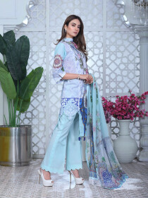 Multicolored Floral Embroidered & Digital Print Unstitched 3 Piece Suit for Women