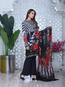 Black & White Embroidered & Digital Print Unstitched 3 Piece Suit for Women