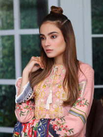 Pink Embroidered & Digital Print Unstitched 3 Piece Suit for Women