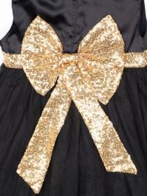 Sequnece Black & Gold Girls Frock