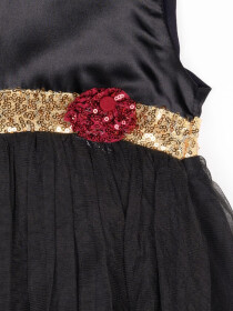 Sequnece Black & Gold Girls Frock