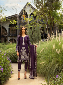 Purple Embroidered & Digital Print Unstitched 3 Piece Suit for Women