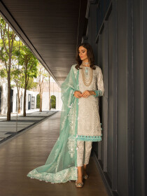 Off White Embroidered & Digital Print Unstitched 3 Piece Suit for Women