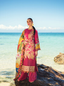 Raspberry Embroidered & Digital Print Unstitched 3 Piece Suit for Women