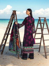 Black Embroidered & Digital Print Unstitched 3 Piece Suit for Women