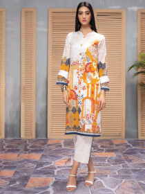 White & Yellow Unstitched Lawn Shirt