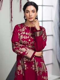 Red Printed Unstitched Lawn Shirt