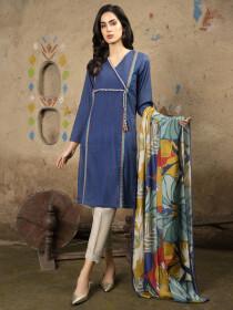 Blue Printed Unstitched 2-Piece Lawn Suit