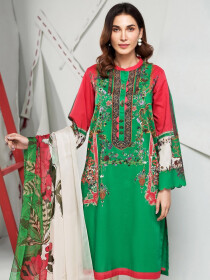 Green Printed Unstitched 2-Piece Lawn Suit