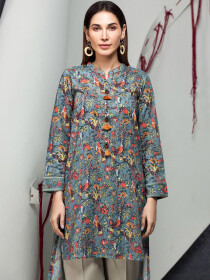 Blue Floral Printed Unstitched Lawn Shirt