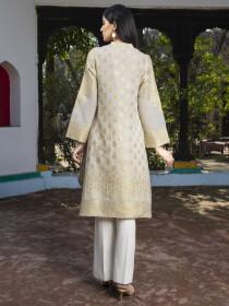 White Jacquard Unstitched Shirt