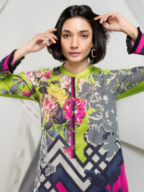 Multicolored Printed Unstitched Lawn Shirt