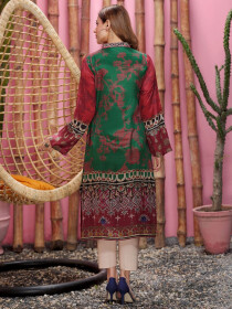 Multicolored Thai Silk Unstitched 2 Piece Suit