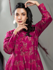 Pink Printed Unstitched Lawn Shirt