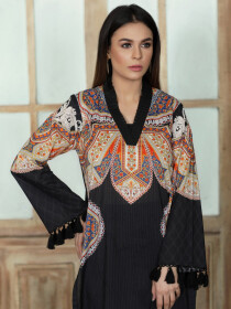 Black Printed Unstitched Lawn Shirt