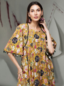 Ochre Printed Unstitched Lawn Shirt