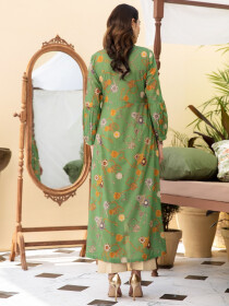 Green Printed Unstitched Lawn Shirt