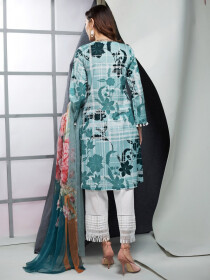 Ice Blue Printed 2 Piece Lawn Suit