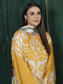 White & Yellow Printed 2 Piece Lawn Suit