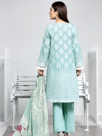 Turquoise Printed 3 Piece Jacquard Suit