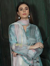 Blue Thai Silk Unstitched 2 Piece Suit