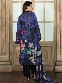 Blue & Black Printed 2 Piece Lawn Suit