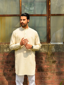 Cream Cotton Kurta for Men