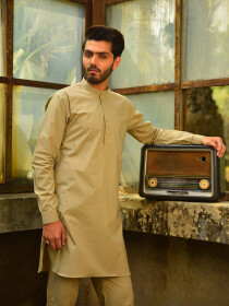 Biscotti Brown Cotton Kurta for Men